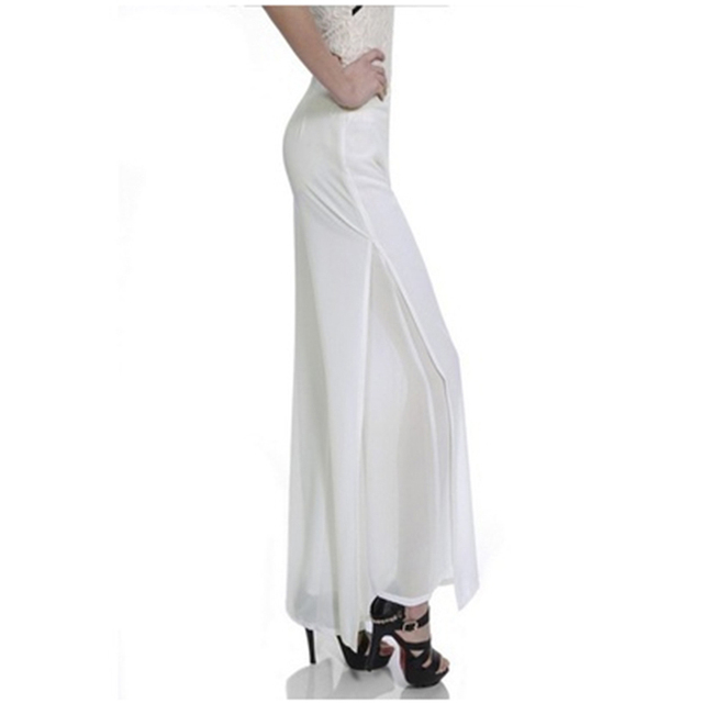 Women Chiffon Side Split Casual Pant Loose Slim Wide Leg Pants Plus Size 4XL Women Vintage High Waist Long Trousers Ladies844337