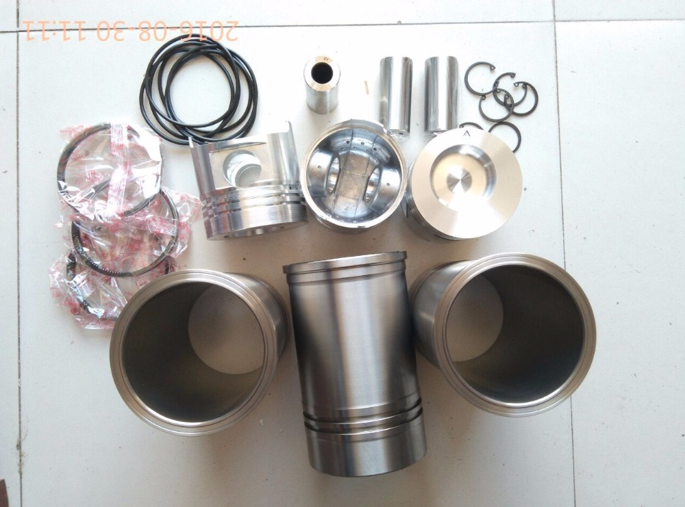 JINMA tractor with engine SL3105ABT2S, the engine piston group: piston, pin, piston rings, liners, water sealings and circlips fengshou mahindra 254 with il316di direct chamber 385 set of piston piston rings piston pin circlip and cylinder liners