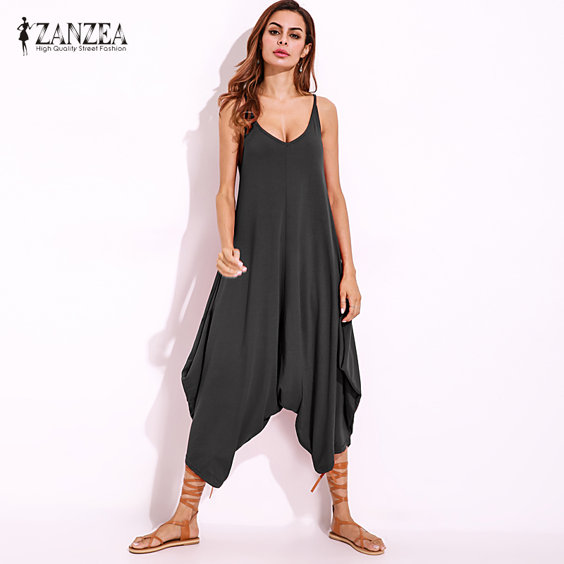 S-5XL 2018 ZANZEA Vintage Casual Solid Wide Leg Long   Jumpsuit   Women V Neck Strappy Loose Summer Drop Crotch Romper Overalls