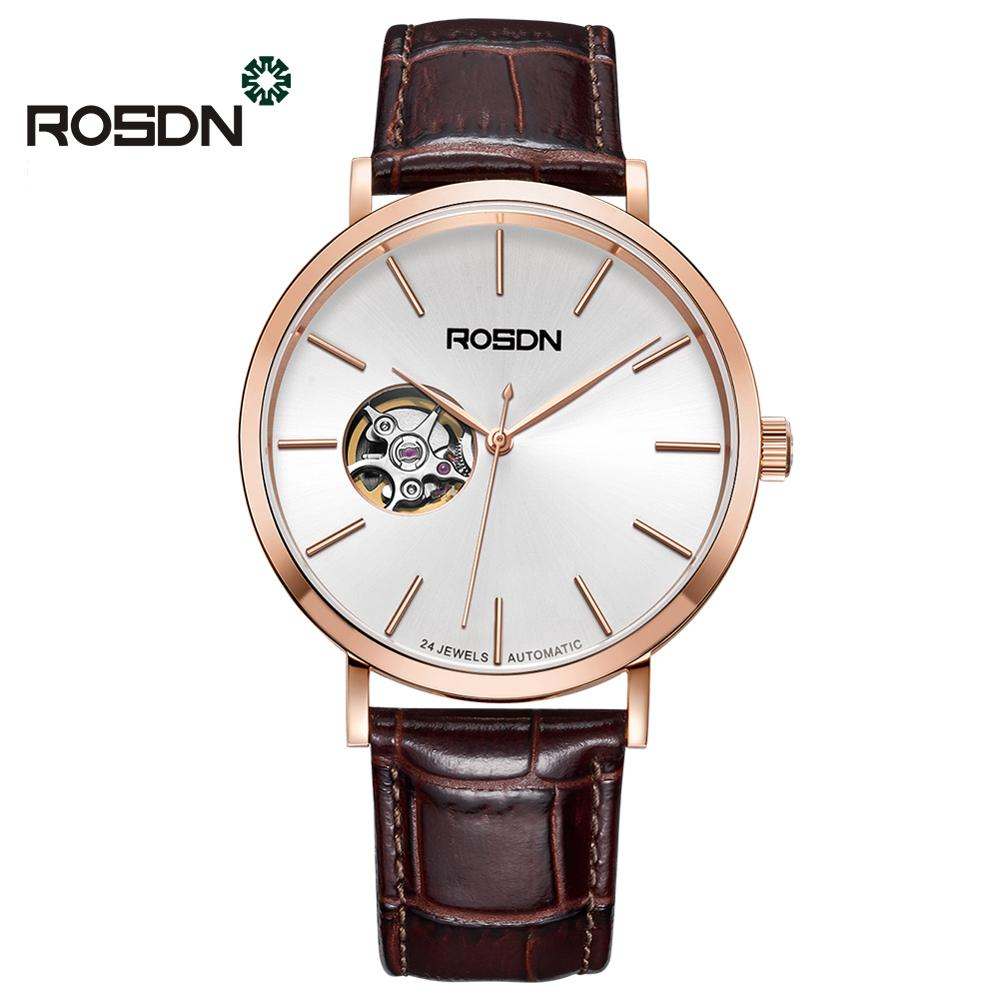 Mechanical Men Watches ROSDN Brand Men Sports Watch China Famous Brand Leather Wristwatch 50M Waterproof Watch Relogio Masculino
