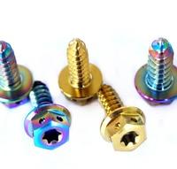 1Pack Tapping Screw M5 M6 x17mm Titanium Bolts Ti Gold Multicolor Burned Blue Torx Flange Head Titanium Screw Ti Fastener