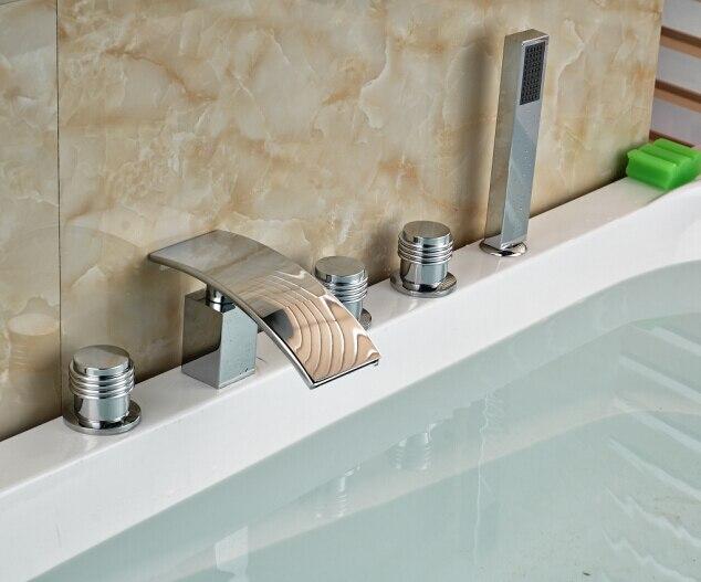 W/Hand Shower Chorme Tub Faucet 5PCS Bathroom Faucet Mixer Tap Three Handles Tap elegant chorme polish tub faucet bathroom 5pcs faucet hot
