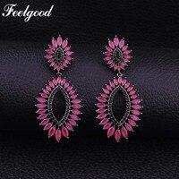 Feelgood Luxus Weiblichen Schmuck Zirkonia Ohrring Mode Schwarz Gold Blume Braut Ohrringe Für Frauen Weihnachten Party