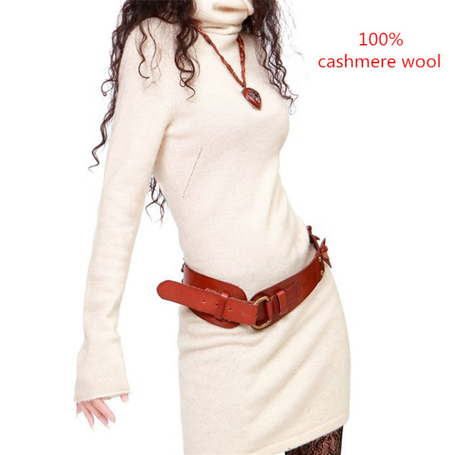 Mulheres camisola de lã vestido quente de Outono e inverno as mulheres suéteres de cashmere pullover Longo-manga longa camisola de gola alta