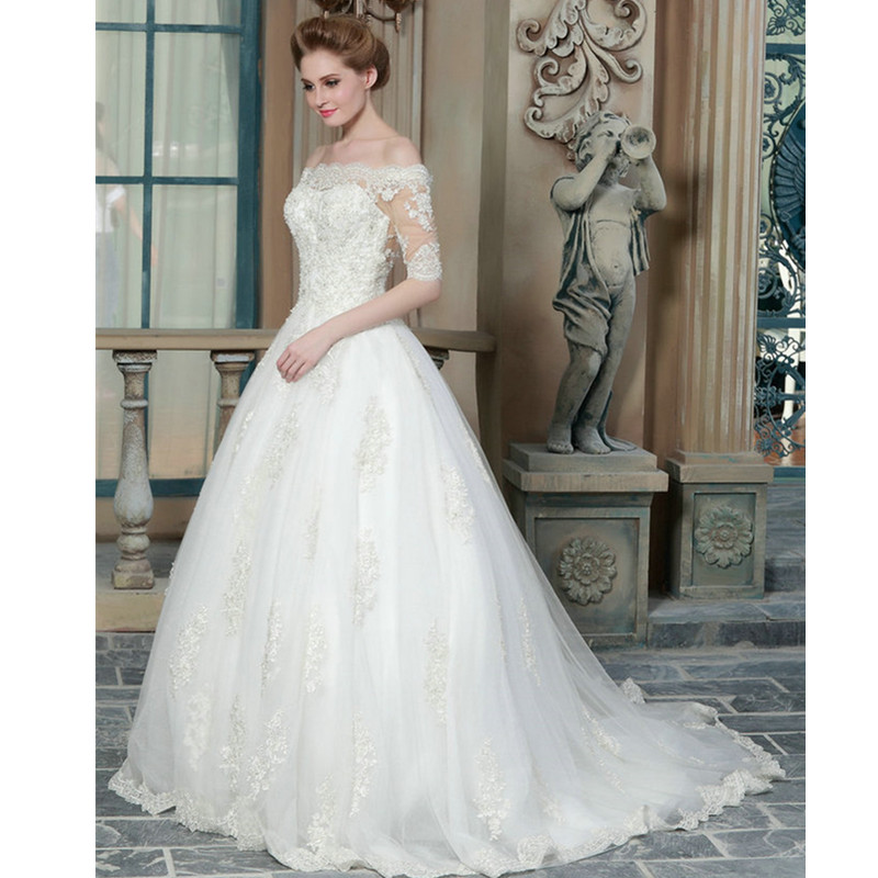 Lace Wedding Dress 2015 Elegant Wedding Gowns Appliques Boat Neck ...