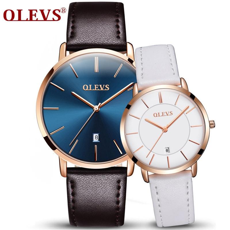 OLEVS Ultra Thin Quartz Wristwatch For Lover Ocean Blue Dial Auto Date Leather Strap Waterproof Men Women Watch 5869 weiqin w3224 shell dial ultra thin ceramic women quartz watch