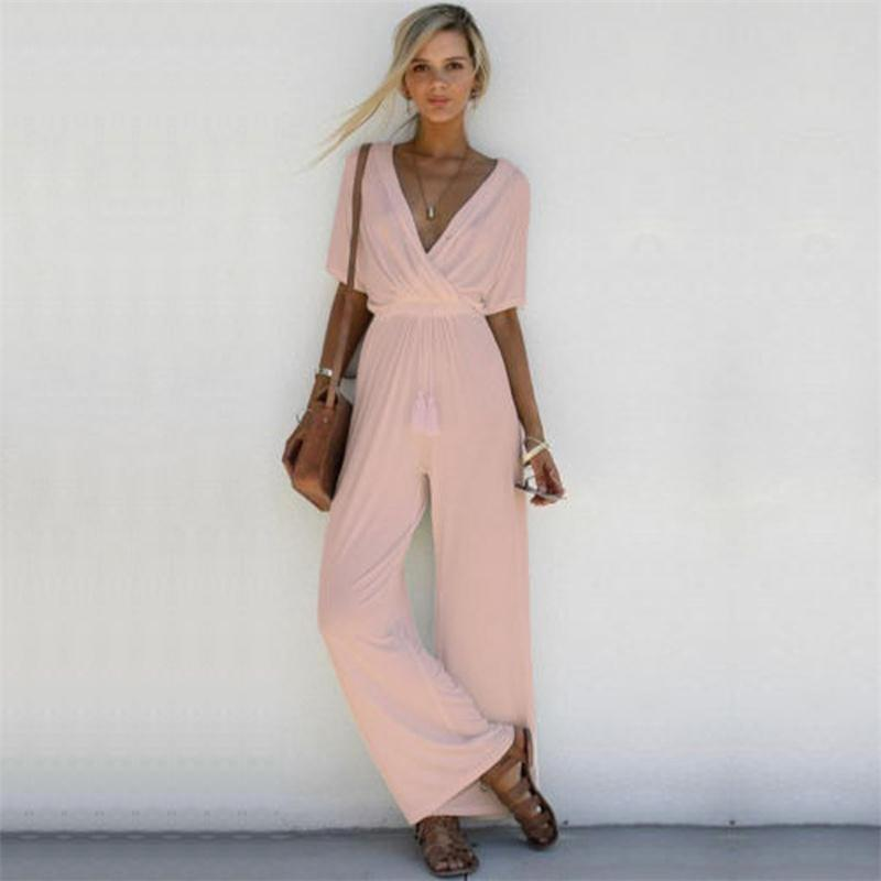 Women Elegant Wide Leg Long Pants Jumpsuit Sexy Lady V Neck Short Sleeve Romper Womens Solid Party Overalls Rompers Talever