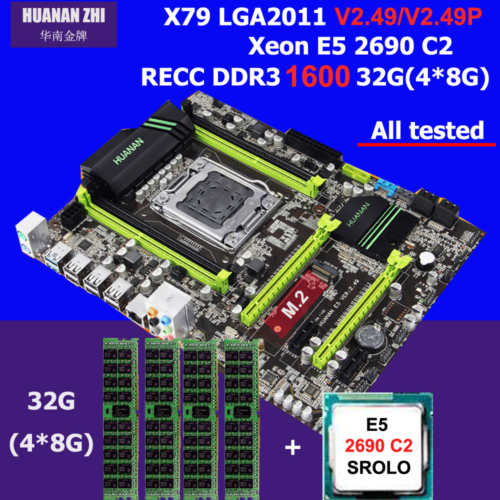 Chaude HUANAN ZHI X79 carte mère avec M.2 fente discount carte mère avec uc Intel Xeon E5 2690 C2 SR0L0 2.9 GHz RAM 32G (4*8G) 1600