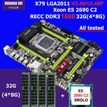 HUANAN X79 LGA 2011 motherboard CPU Intel Xeon E5 2690 C2 memory (4*8)32G DDR3 REG ECC 4 channels 2 years warranty