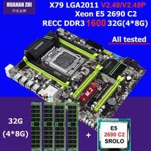 Горячие HUANAN Чжи X79 материнской платы процессора ОЗУ комбинации процессор Intel Xeon E5 2690 C2 SR0L0 2,9 ГГц памяти 32 г (4*8 г) DDR3 1600 мГц ECC REG