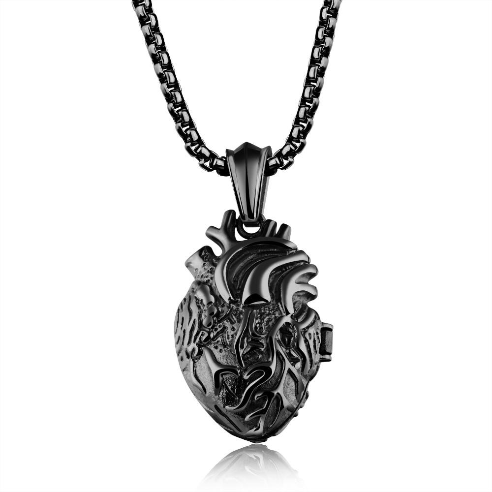 Новый Дизайн кулон сердце Цепочки и ожерелья Для мужчин ювелирные изделия в стиле панк 316L Нержавеющая сталь 60 см длинные Цепи для Colar masculino п...