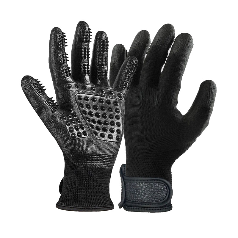 1 Pair High Quality Palm Rubber Coated Nylon Gloves Pets Massage Grooming Gloves Hair Cleaning Work Safety Hands Protection цена
