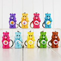 12Pcs/Lot Cute Rainbow Care Bears Keychain Figure Phone Bag Pendants Kids Toys Gift Collectible Free Shipping
