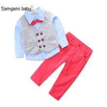 SAMGAMI BABY Kids Handsome Children's Clothing Sets Gentleman Boy's Suit Set Kids Clothes Set Long-sleeve Shirts+vest+Trousers