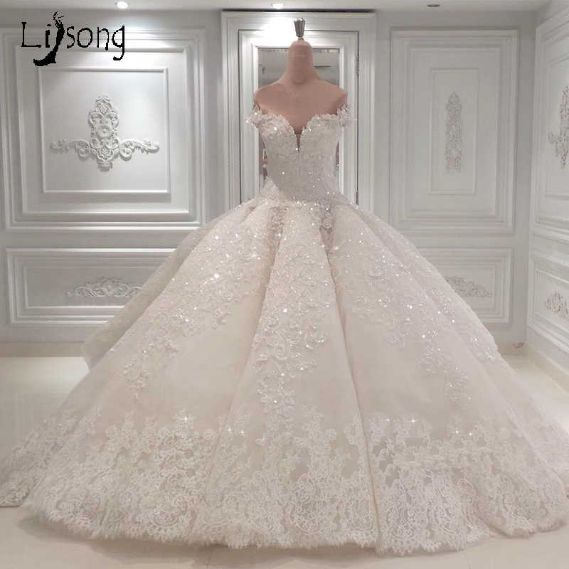 White Appliques Wedding Ball Gowns Custom Made Middle East Saudi Arabia Bridal Formal Maxi Gown Puffy Pleated Luxury Brides Gown