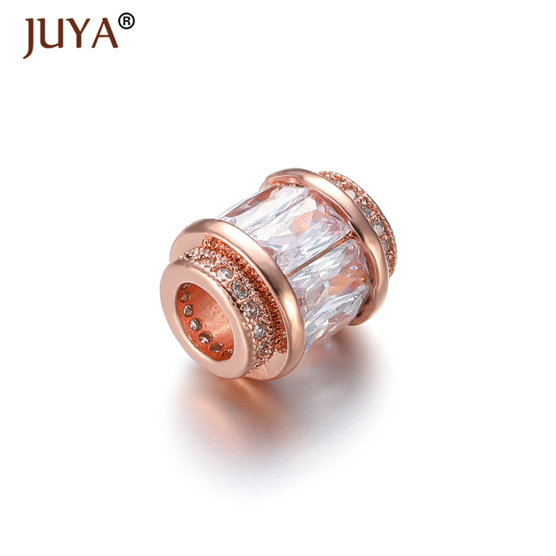 Supplier For Jewelry Making Wholesale Luxury Austrian Cubic Zirconia Crystal Beads Large Hole Hollow Bead DIY Jewellery Findings