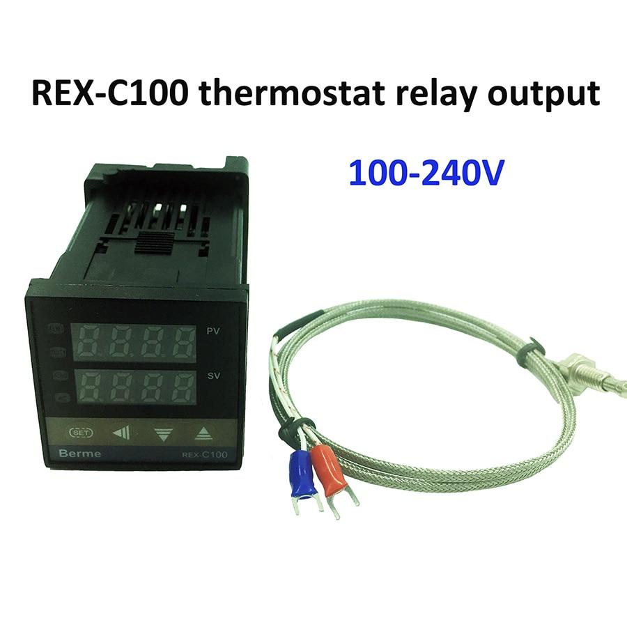 REX-C100 régulateur de température numérique thermostat sortie relais + capteur thermocouple de type K 48x48 1300C
