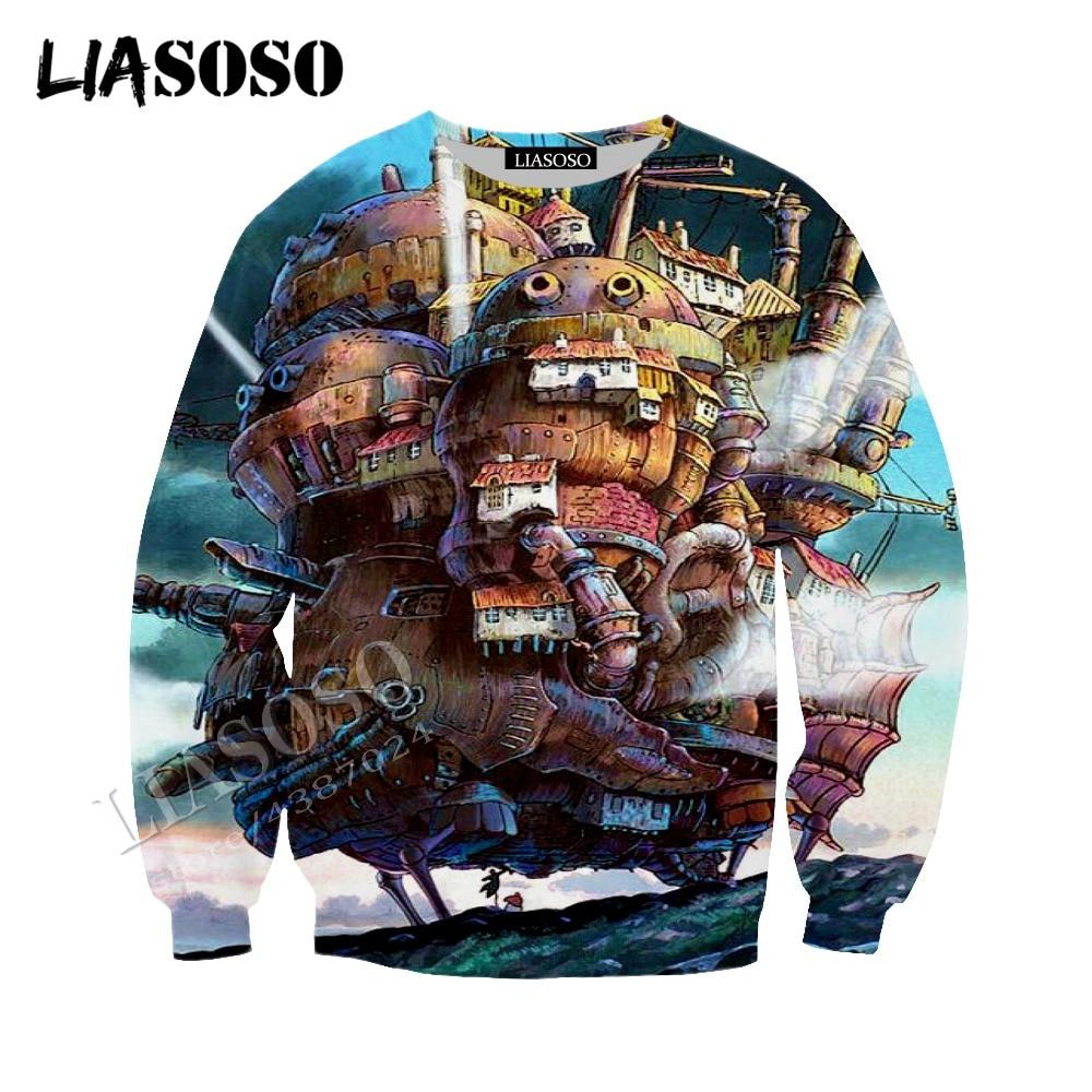 LIASOSO latest 3D printing polyester zipper hoodie Japanese anime Hayao Miyazaki Howl's Moving Castle men women sportswear CX425