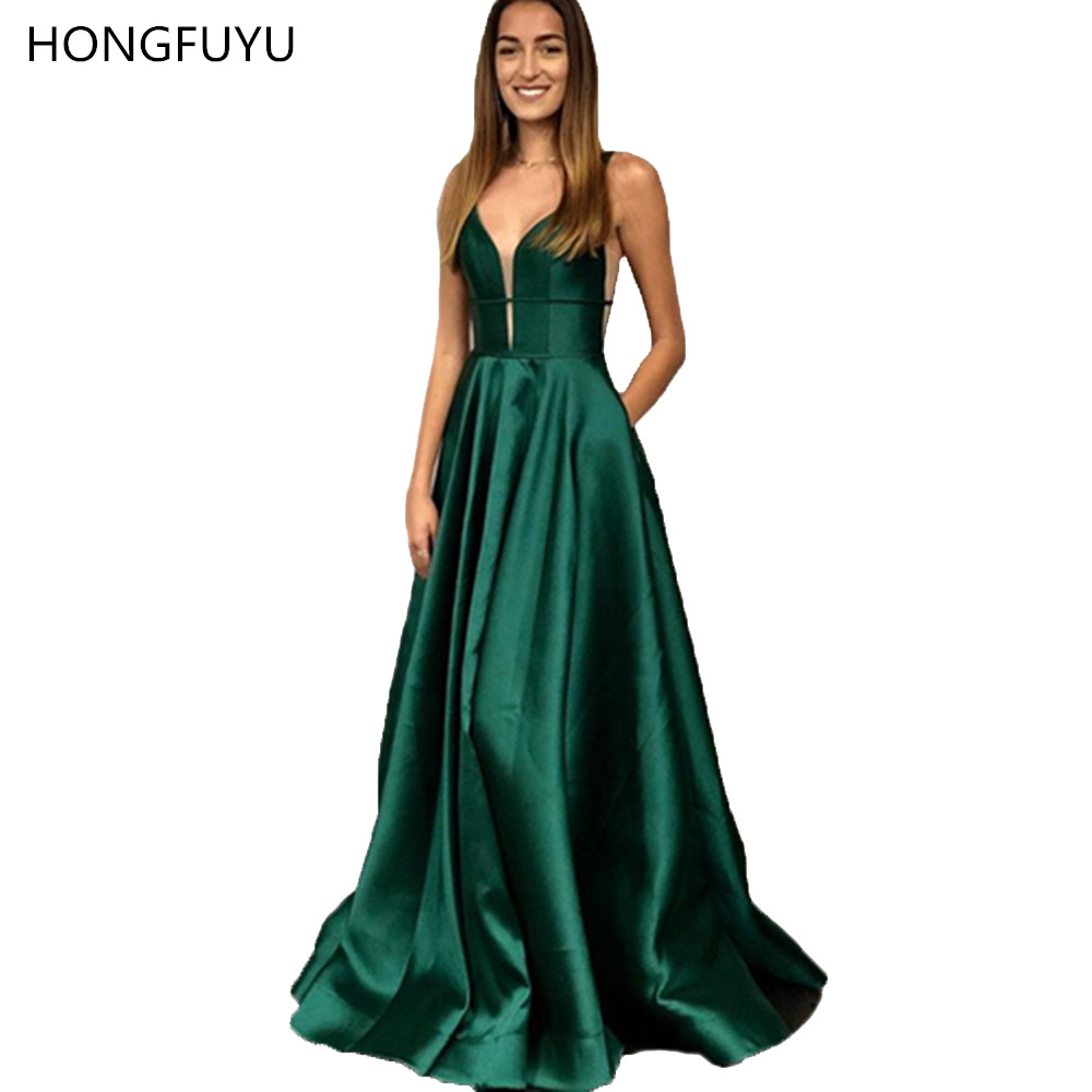 HONGFUYU Vestido de Festa A-line   Prom     Dresses   Satin Plunging Illusion Neck Robe de Soiree Evening Formal Gowns Party   Dress   Long