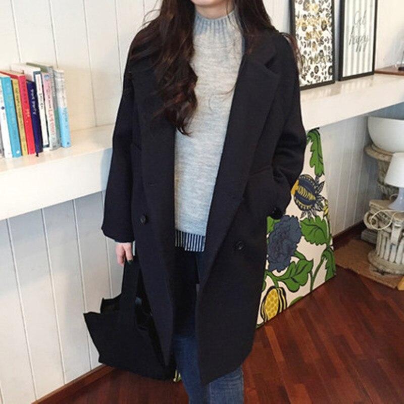 2019 New Wool Blend coat female Long Sleeve lapel long women Jacket Casual Autumn Winter Elegant Overcoat coat women veste femme