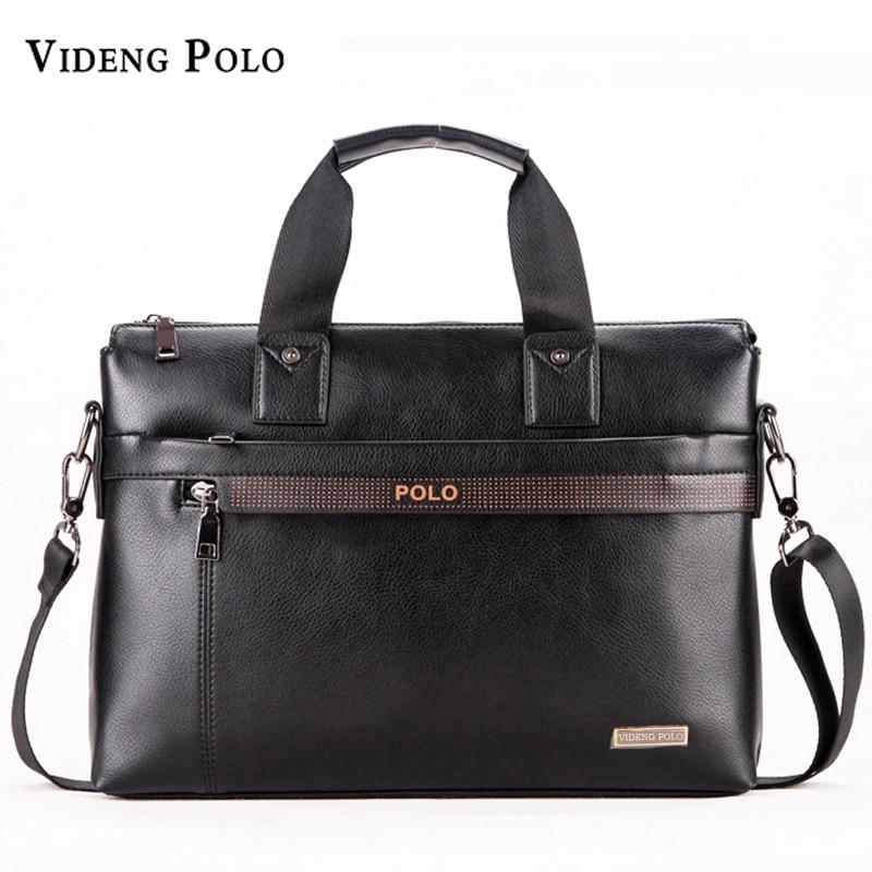 VIDENG POLO Men Briefcase Business Leather Handbag For Men Messenger Shoulder Bag Office A4 Laptop Crossbody Bag Male Travel Bag