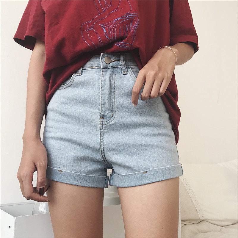 2018 Summer Women   Shorts   Jeans High Waist Elastic Blue Cotton Streetwear Denim   Short   Feminino