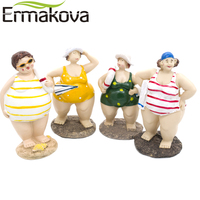 ERMAKOVA Resin Plump Beauty Fat Lady Figurine Girl Statue Chubby Well-rounded Bikini swimsuit Woman Sculpture Ornament Decor