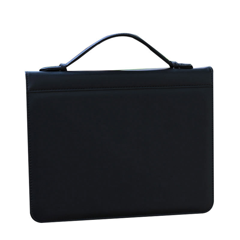 a4 / letter size man case it multifunctional documents bag zipper PU leather folder portfolio handle briefcase binder