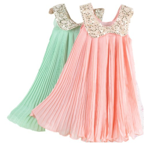 2017 Summer Girls Pleated Chiffon One-Piece Dress With Paillette Collar Children Colthes For Kids Baby, Pink/Green Free Shipping dark blue doll collar pleated dress