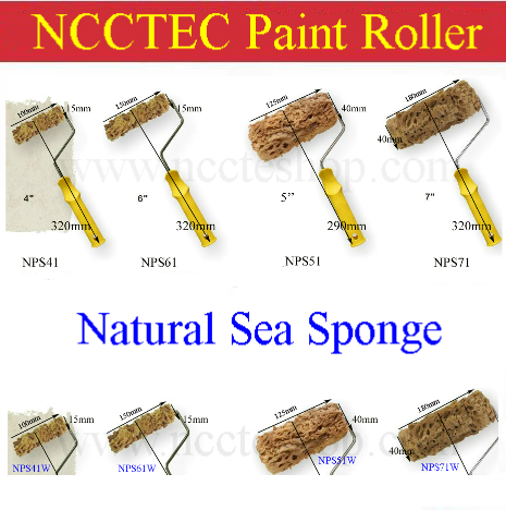 4'' 5'' 6'' 7'' natural sea sponge paint roller FREE SHIPPING/100mm 125mm 150mm 180mm paint roller with handle or without handle f01979 20 20x cw