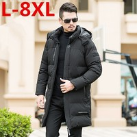 plus size 8XL 7XL 6XL Men Winter Jacket Fashion Hooded Thermal Down Cotton Parkas Male Casual Hoodies Brand Clothing Warm Coat
