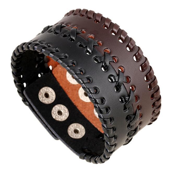 Fashion Men Wide Genuine Leather Cuff Bracelet Vintage Hollow Weave Braided Charm Bangle Wrap Punk Women Wristband Retro Jewelry