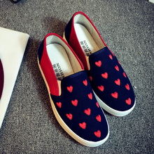 new 2016 women loafers slip on canvas shoes heart shaped breathable flat casual shoes driving mocassins size 35-40