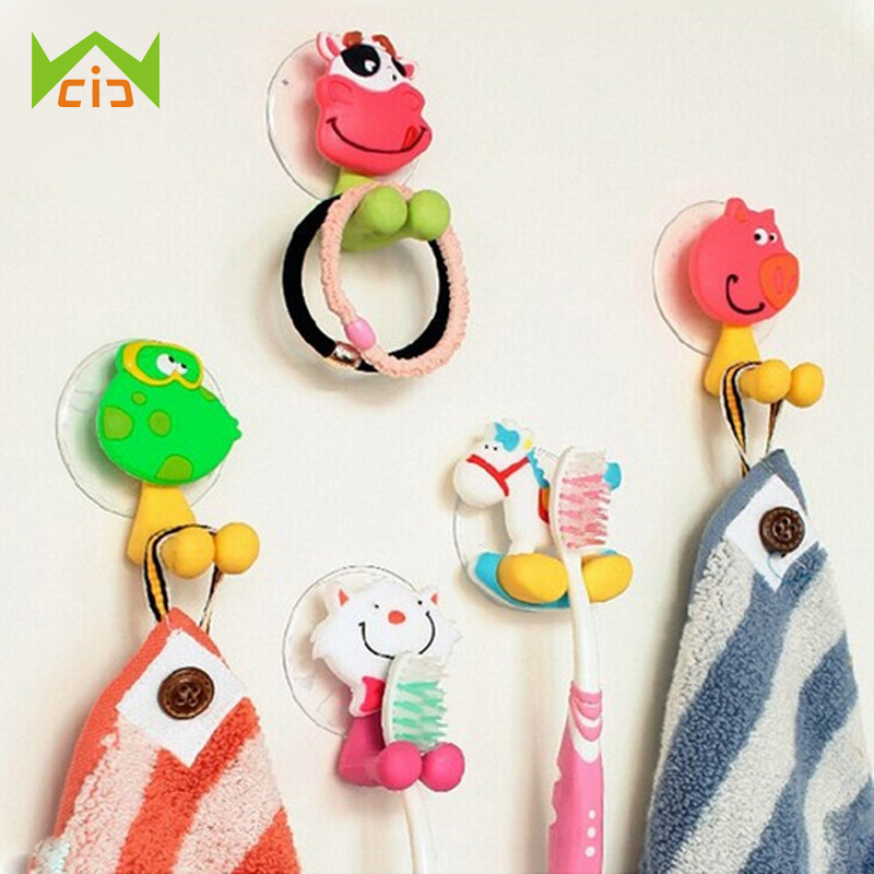 WCIC Cartoon Animal Toddler Toothbrush Holder Wall Mount Suction Cup Wall Rack Hanger Bathroom Accessories Set Children Kid Gift image