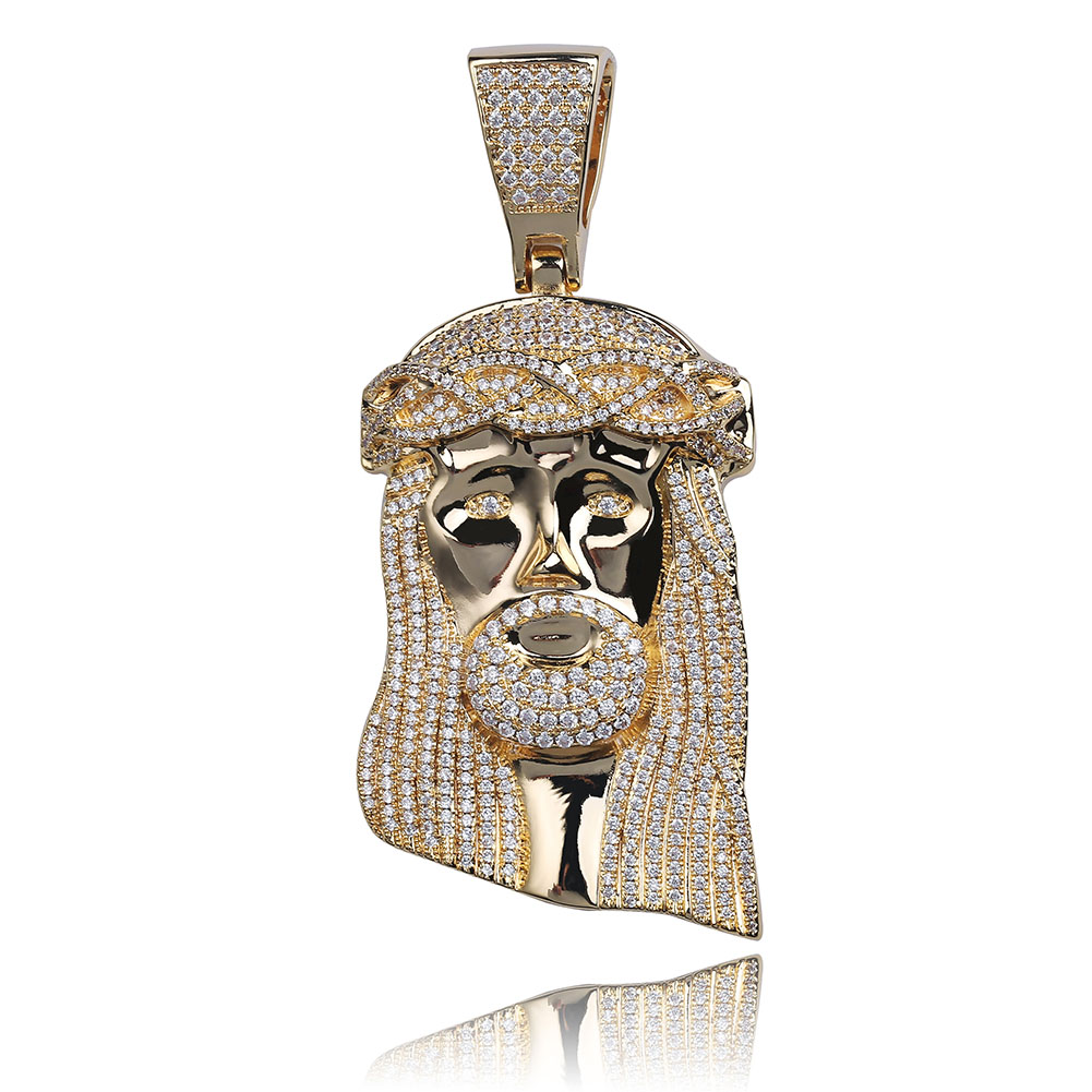 JINAO New Ice out Jesus Corolla pendant hip hop Jewellery Fashion CZ Stone Necklace For Man Women Gift-in Pendant Necklaces from Jewelry & Accessories    1