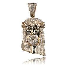 JINAO جديد الجليد خارج يسوع كورولا قلادة الهيب هوب مجوهرات موضة تشيكوسلوفاكيا حجر قلادة للرجل المرأة هدية