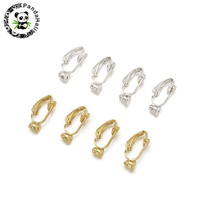 10pcs Brass Clip On Earring Converter Components DIY Earrings Jewelry Making Findings Accessories Nickel Free Golden & Sliver
