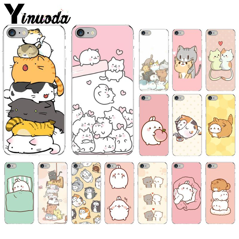 Yinuoda Kawaii Molang Cartoon <font><b>Anime</b></font> katze DIY Zeichnung Telefon Fall abdeckung Shell für <font><b>iPhone</b></font> <font><b>X</b></font> <font><b>XS</b></font> <font><b>MAX</b></font> 6 6s 7 7plus 8 8Plus 5 5S SE XR image