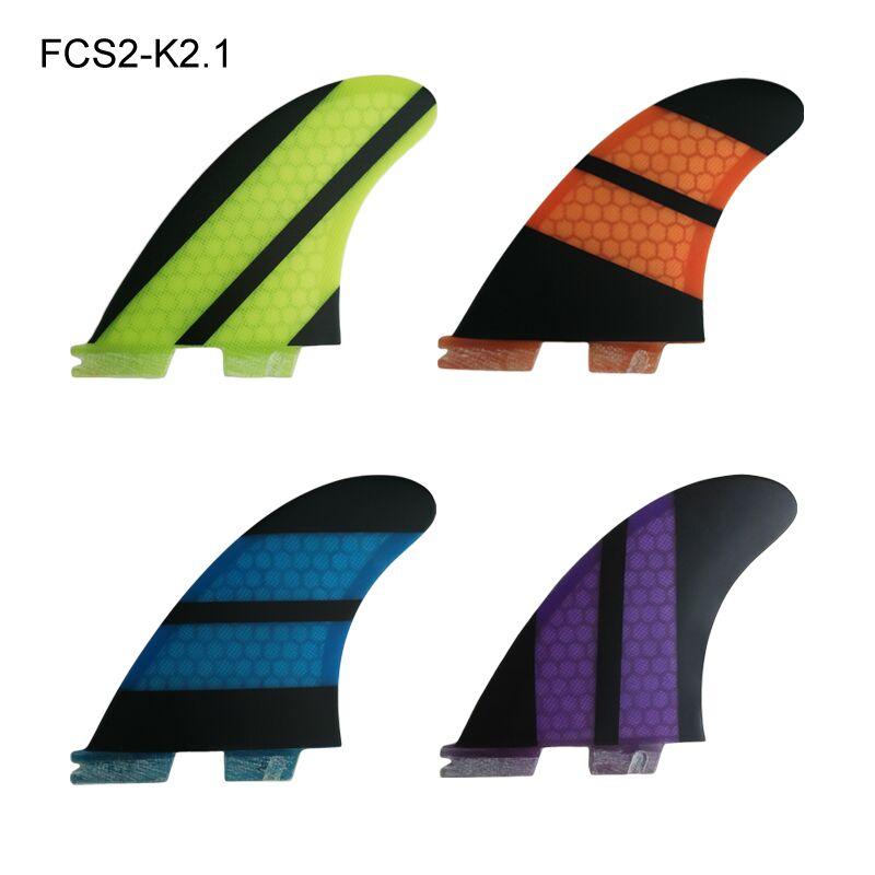FCS Fin II K2.1 Amarelo/Laranja/Azul/Purpel 2 Quihas no Surfe FCS Aletas Prancha de Fibra De Vidro Fin