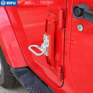 Image 2 - Mopai Auto Exterieur Deur Scharnieren Pinnen Metalen Foot Rest Pedalen Plaat Voor Jeep Wrangler 2007 Up Auto Accessoires Auto styling