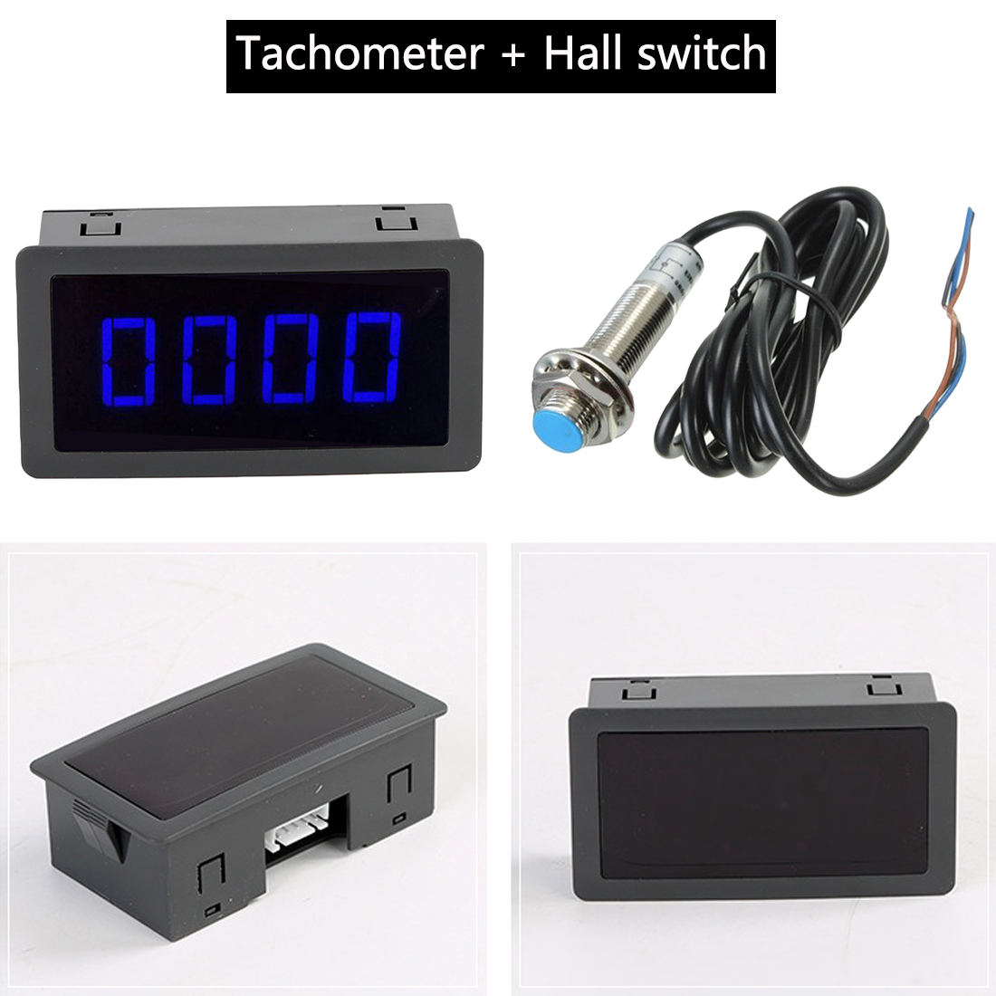 DC 8-15V Hall Proximity Switch Sensor NPN+ 4 Digital Red Green Blue LED Tachometer RPM Speed Meter 5-9999RPM