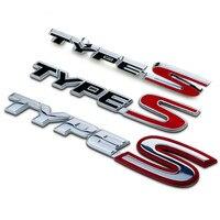 New Silver Red Chrome Metal Zinc TYPE S Car Styling Refitting Trunk Logo Emblem Mark Sticker