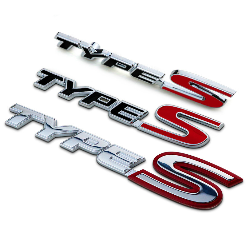 New Silver <font><b>Red</b></font> Chrome Metal Zinc TYPE <font><b>S</b></font> Car Styling Refitting Trunk <font><b>Logo</b></font> Emblem Mark Sticker Grille For Honda Civic CR-V Jade