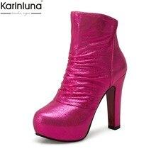 93fe89694 32-43 KARINLUNA new arrivals dropship mais tamanhos Mulher Ankle Boots Moda  Sapatos de salto