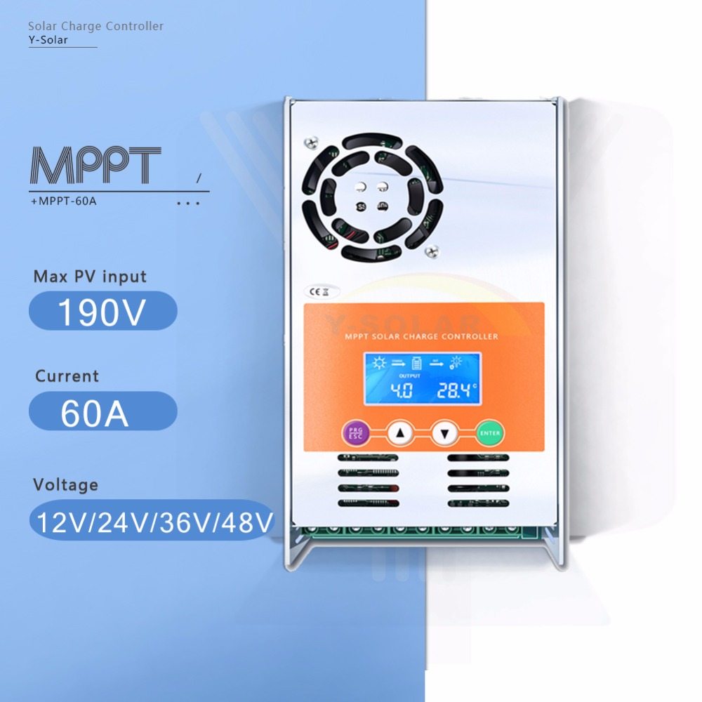 MPPT 60A LCD Display Solar Charge Controller 12V 24V 36V 48V Auto Solar Panel Battery Charge Regulator for Max 190V DC Input 10a mppt solar charge controller remote meter mt50 epever battery regulator 100v pv input 12v 24vdc auto with lcd display