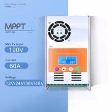 Pantalla LCD Solar Charge Controller MPPT 60A 12 V 24 V 36 V 48 V Auto Regulador de Carga de Batería Del Panel Solar para Max 190 V de Entrada de CC