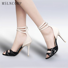 купить plus size 34-46 Fashion Women Summer High Heels Sandals Ankle Buckle strap Boots Party Sexy Pumps Patent Leather Gladiator Shoes по цене 2111.94 рублей