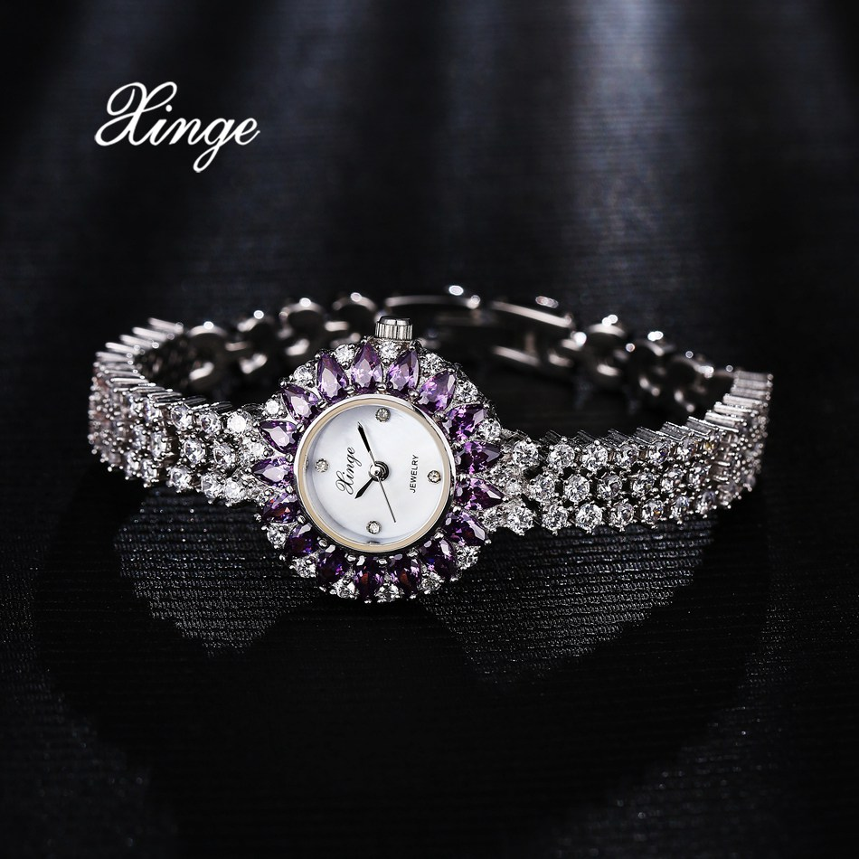 Xinge Top Brand Luxury Zircon Watches For Women Bracelet Dress Wristwatch Ladies Fashion Quartz Clock Gift Relogio Feminino xinge top brand luxury women watches silver stainless steel dress quartz clock simple bracelet watch relogio feminino