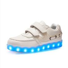 Size25-37 2017 casual enfants sneakers USB de charge enfants LED lumineux shoes garçons filles plat coloré clignotant lumières sneakers