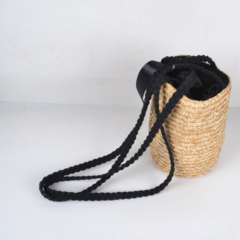 cf2f950f999d LJL ведро цилиндрические соломенные сумки лук Пшенично-плетеная солома женские  сумки через плечо сумка-тоут (основной цвет) - b.stephdunn.me